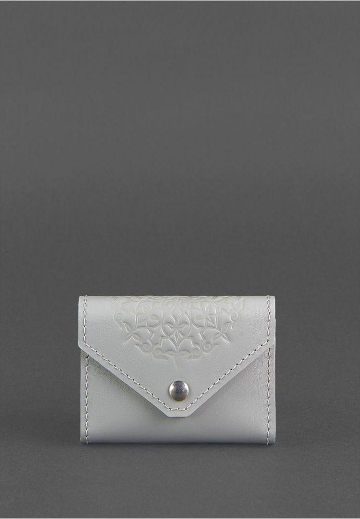 Фото Женский кожаный кард-кейс 3.0 (Гармошка) Серый с мандалой