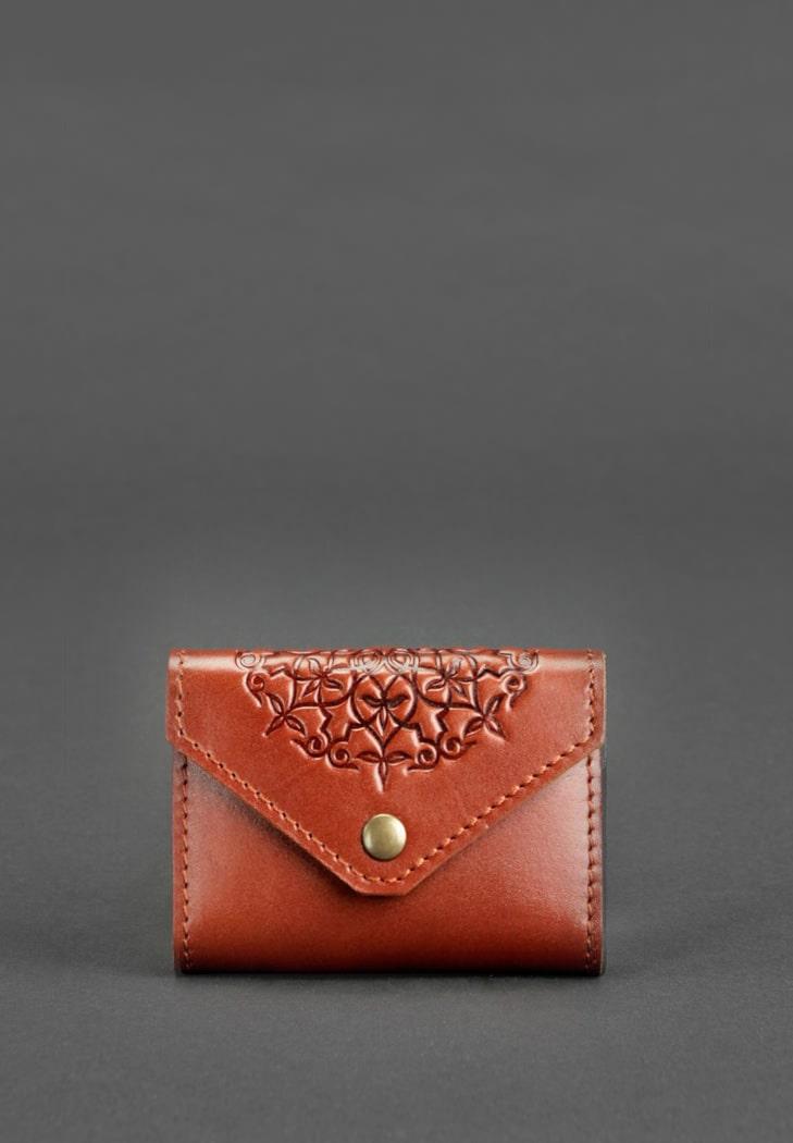 Фото Кожаный кард-кейс 3.0 светло-коричневый с мандалой