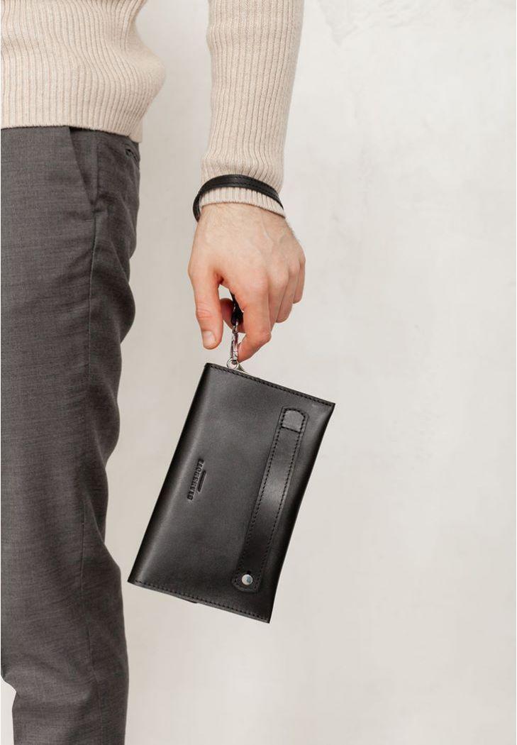 Фото Кожаный мужской клатч-барсетка 3.0 черный краст (BN-KLATCH-3-g)
