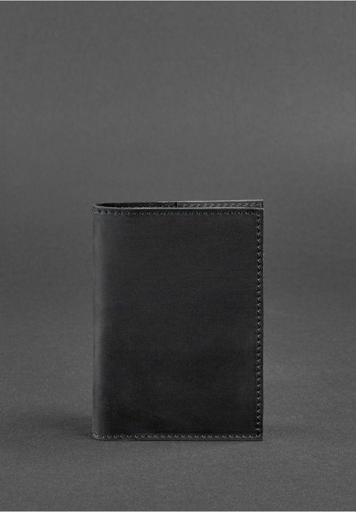 Фото Кожаная обложка для паспорта 1.2 черная