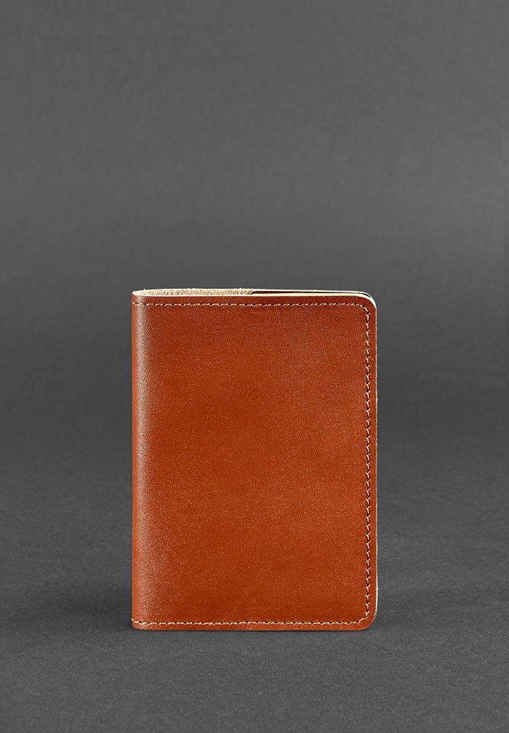 Фото Кожаная обложка для паспорта 1.3 светло-коричневая