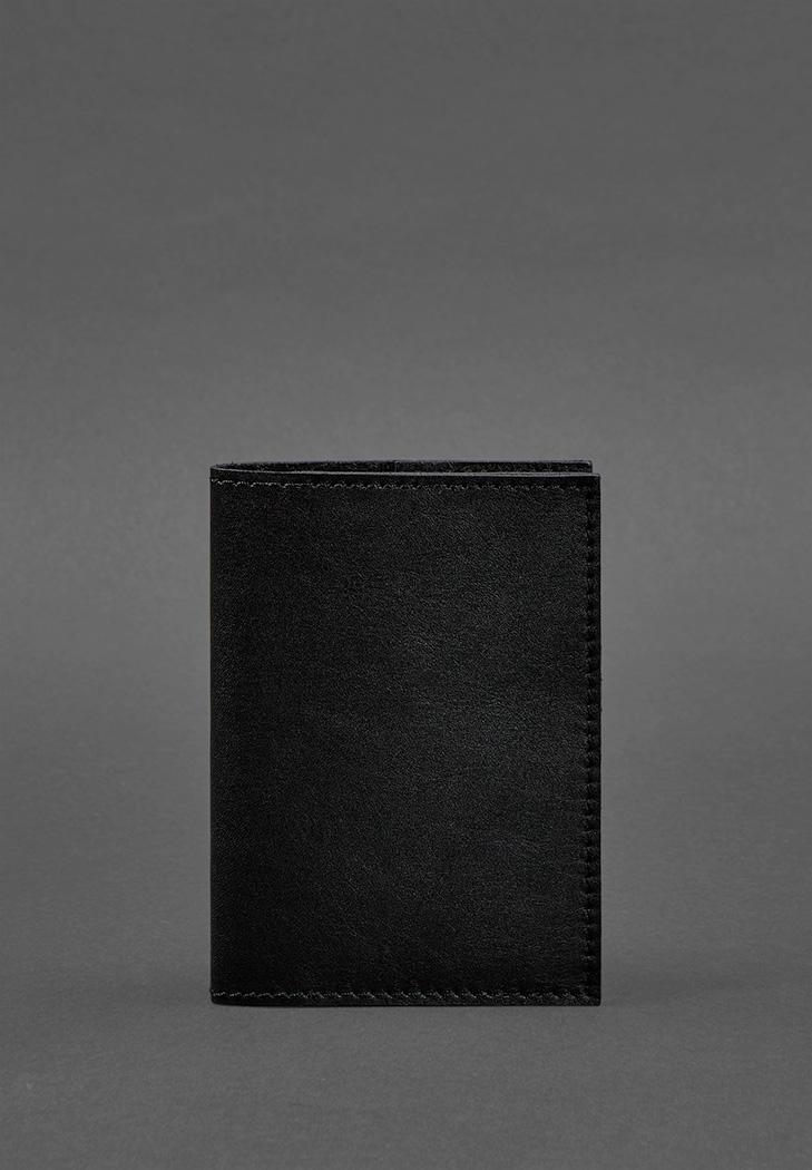 Фото Кожаная обложка для паспорта 1.2 черная Краст (BN-OP-1-2-g)