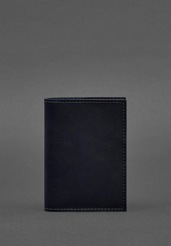 Фото Кожаная обложка для паспорта 1.2 синяя Краст (BN-OP-1-2-navy-blue)