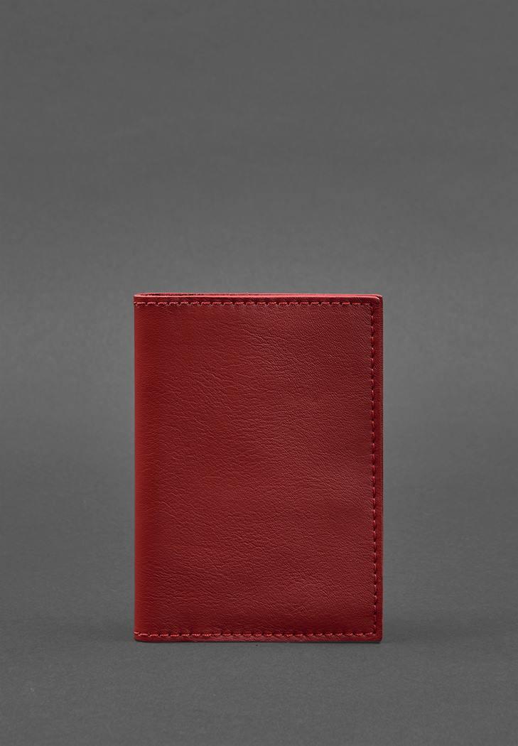 Фото Кожаная обложка для паспорта 1.2 красная (BN-OP-1-2-red)