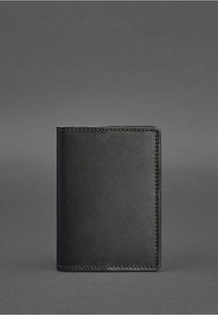 Фото Кожаная обложка для паспорта 1.3 черная Краст BlankNote