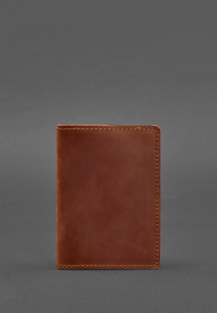 Фото Кожаная обложка для паспорта 1.3 светло-коричневая Crazy Horse (BN-OP-1-3-k-kr)