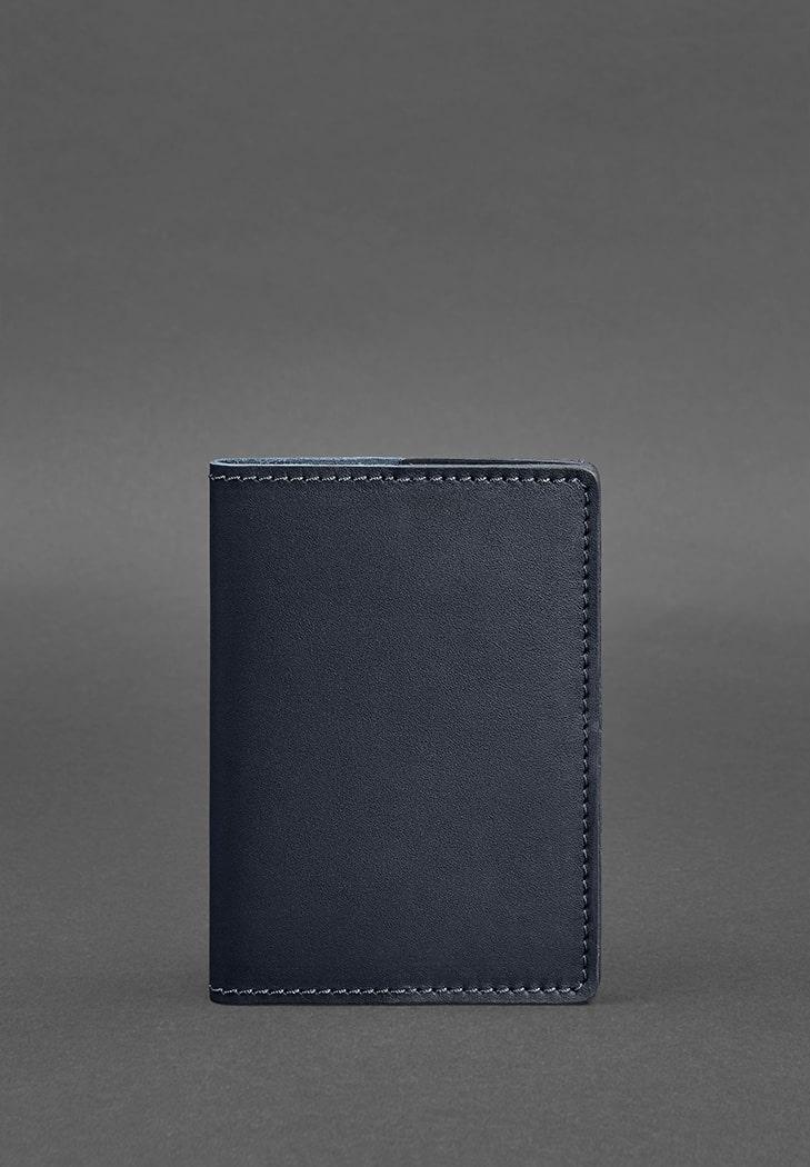 Фото Кожаная обложка для паспорта 1.3 темно-синяя BlankNote