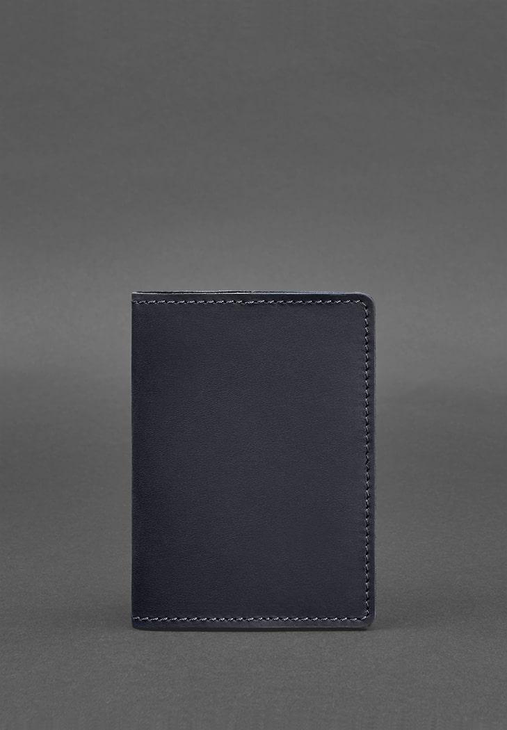 Фото Кожаная обложка для паспорта 1.3 синяя Crazy Horse