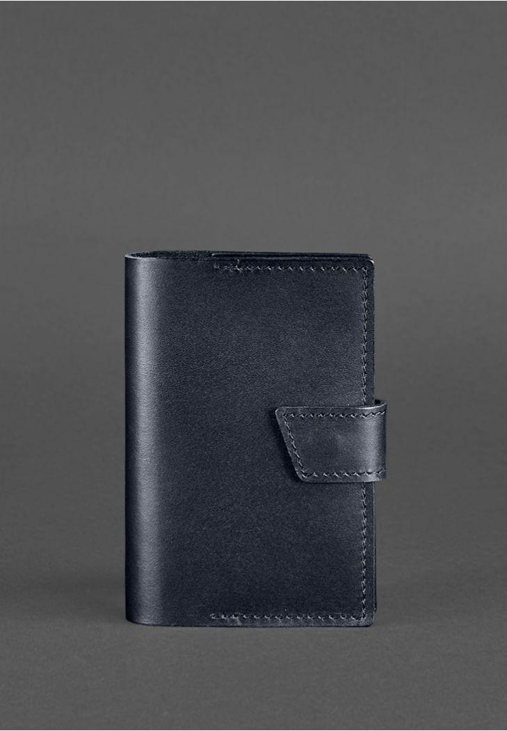 Фото Кожаная обложка для паспорта 4.0 темно-синяя