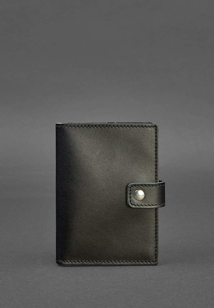 Фото Кожаная обложка для паспорта 5 (с окошком) черная  BlankNote