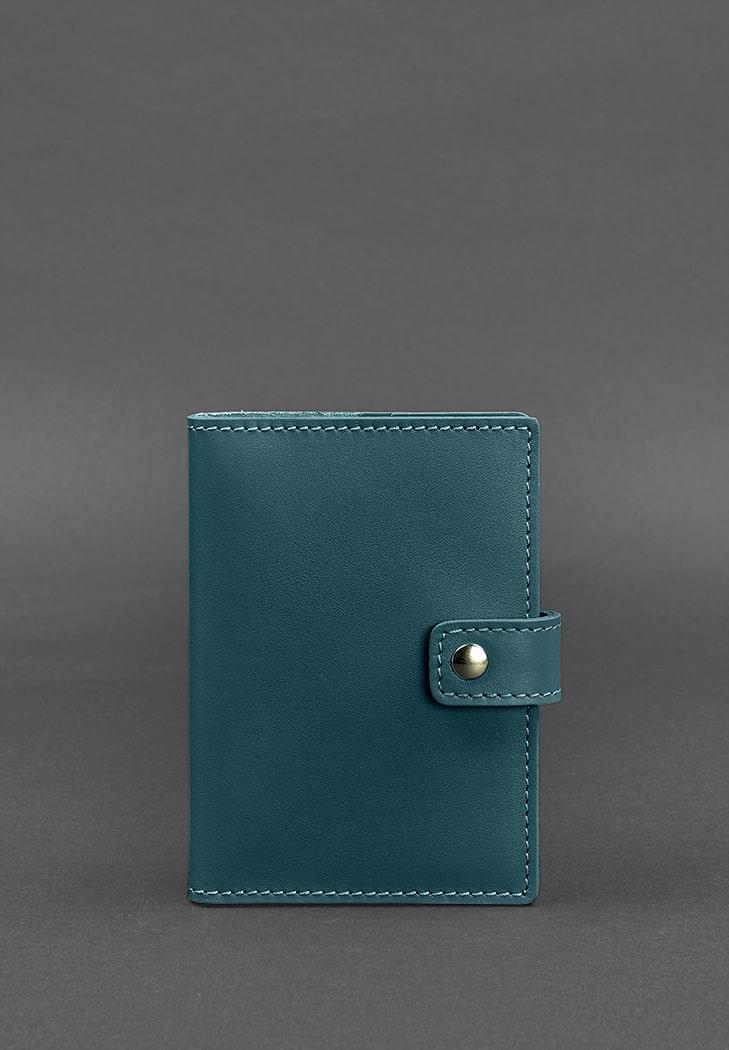 Фото Кожаная обложка для паспорта 5.0 (с окошком) зеленая BlankNote