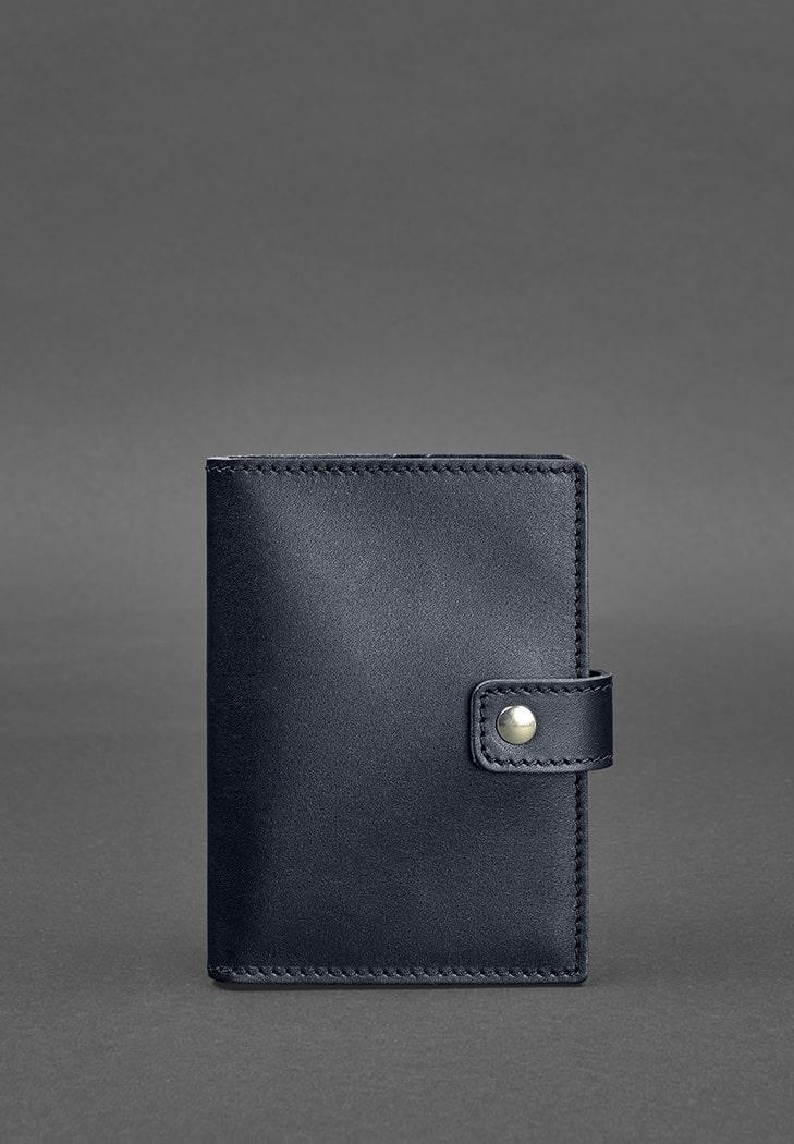 Фото Кожаная обложка для паспорта 5.0 (с окошком) темно-синяя Краст
