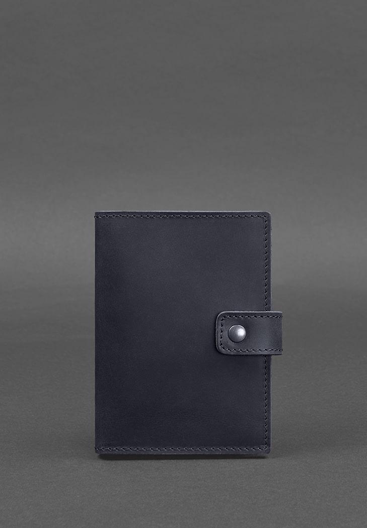 Фото Кожаная обложка для паспорта 5.0 (с окошком) темно-синяя Crazy Horse