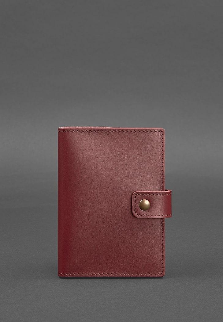 Фото Кожаная обложка для паспорта 5.0 (с окошком) бордовая Краст