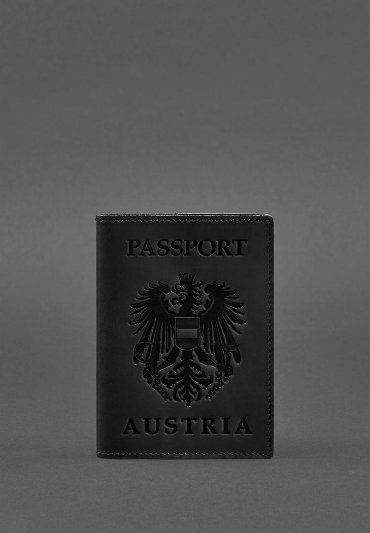 Фото Кожаная обложка для паспорта с австрийским гербом черная Crazy Horse (BN-OP-AT-g-kr)