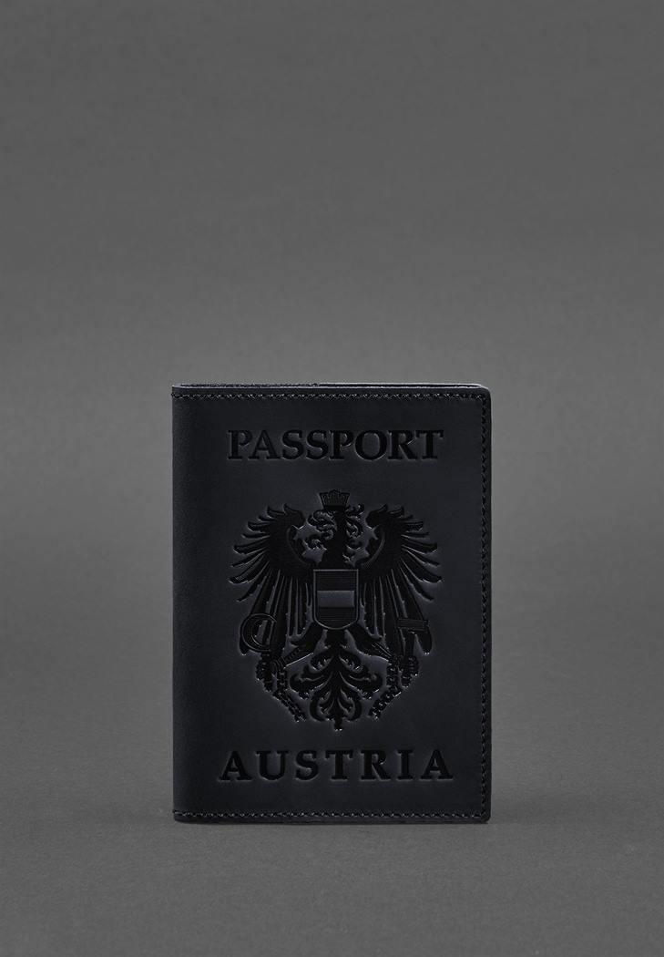 Фото Кожаная обложка для паспорта с австрийским гербом темно-синяя Crazy Horse (BN-OP-AT-nn)