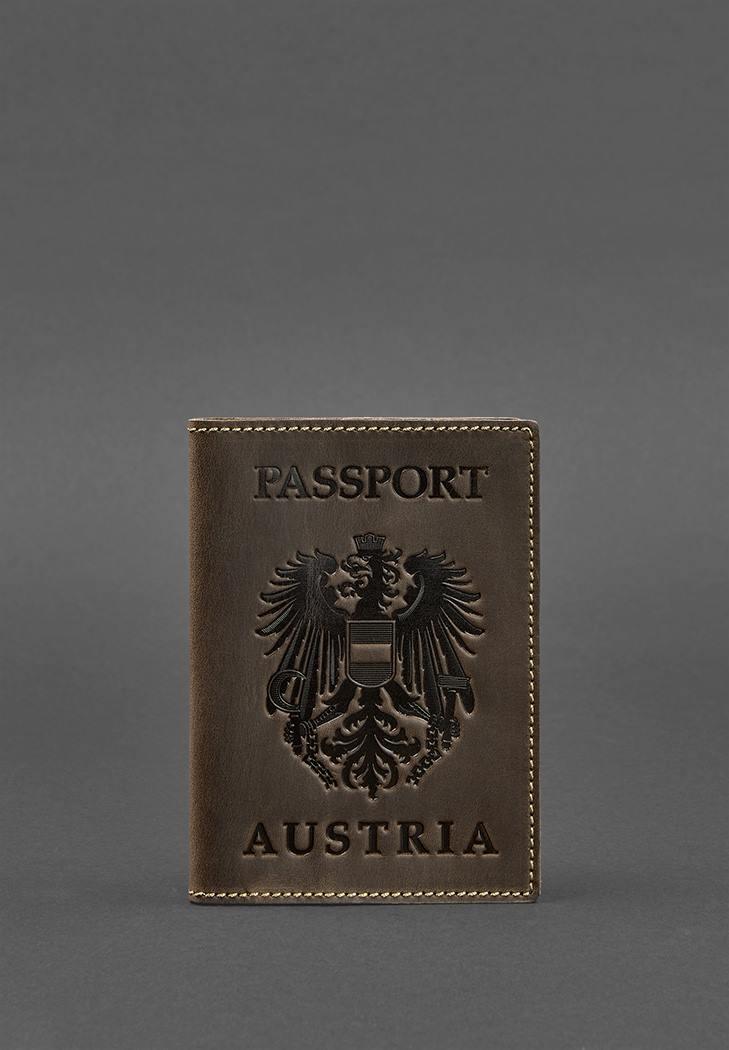 Фото Кожаная обложка для паспорта с австрийским гербом темно-коричневая Crazy Horse (BN-OP-AT-o)