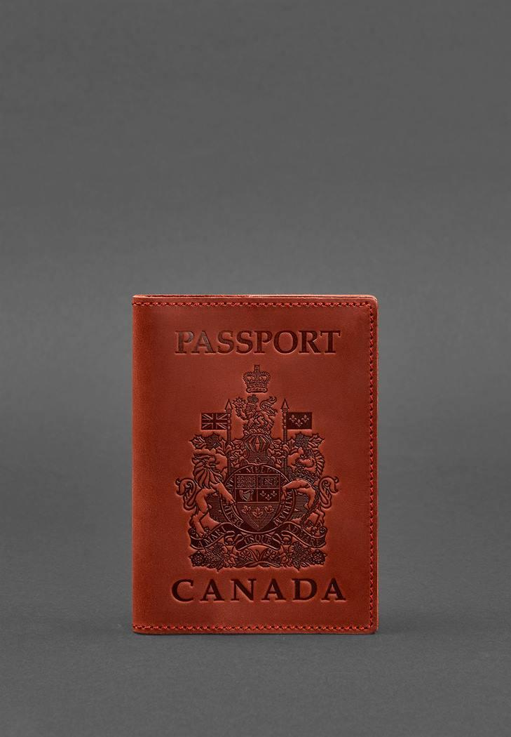 Фото Кожаная обложка для паспорта с канадским гербом коралл Crazy Horse (BN-OP-CA-coral)