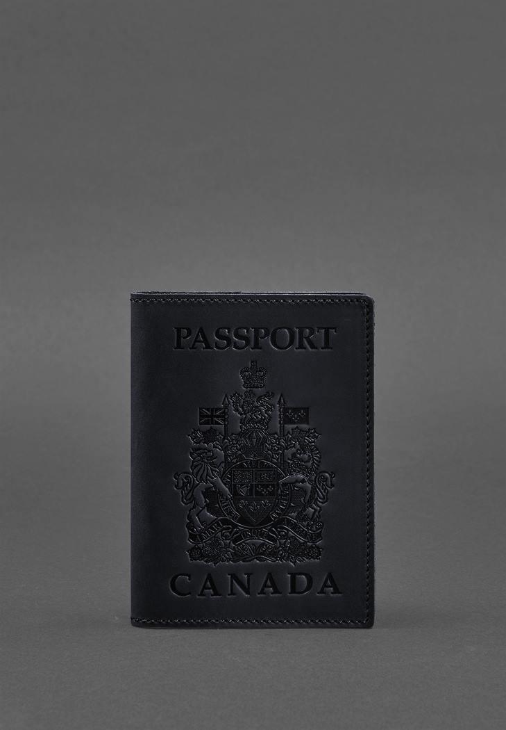 Фото Кожаная обложка для паспорта с канадским гербом темно-синяя Crazy Horse (BN-OP-CA-nn)