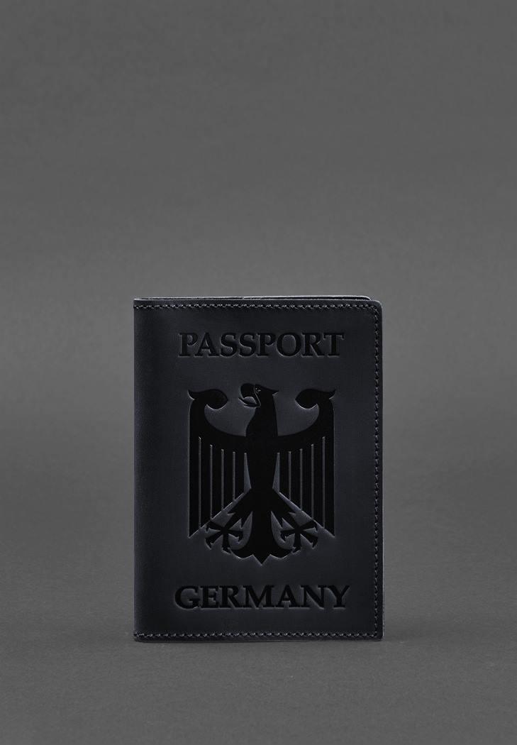 Фото Кожаная обложка для паспорта с гербом Германии темно-синяя Crazy Horse (BN-OP-DE-nn)
