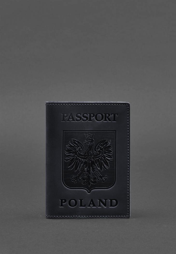 Фото Кожаная обложка для паспорта с польским гербом темно-синяя Crazy Horse (BN-OP-PL-nn)