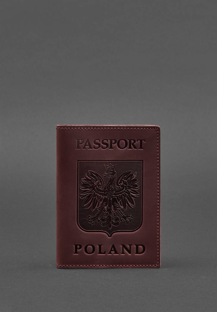 Фото Кожаная обложка для паспорта с польским гербом бордовая Crazy Horse (BN-OP-PL-vin-kr)