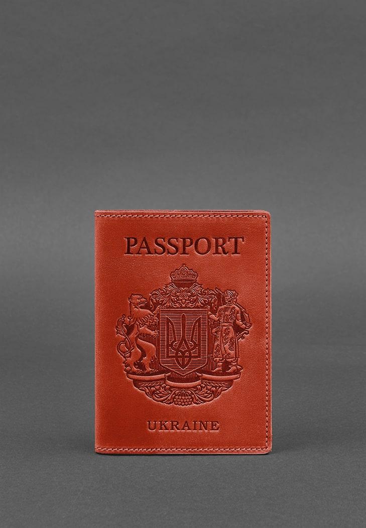Фото Женская кожаная обложка для паспорта коралловая с украинским гербом BlankNote