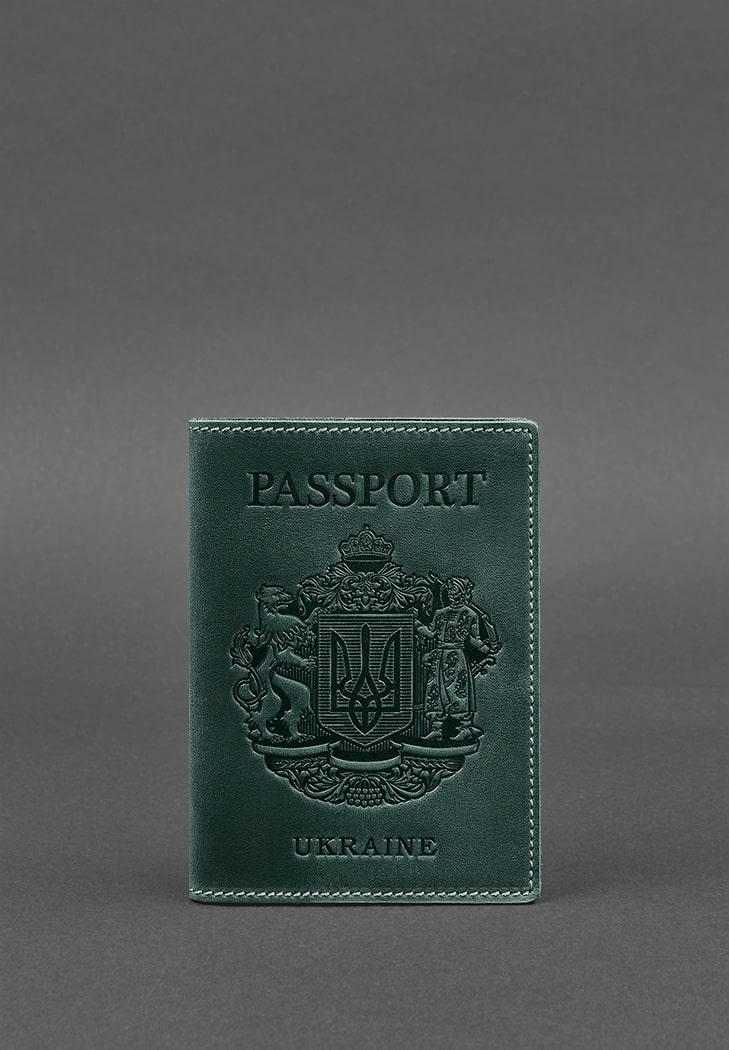 Фото Кожаная обложка для паспорта с украинским гербом зеленая BlankNote