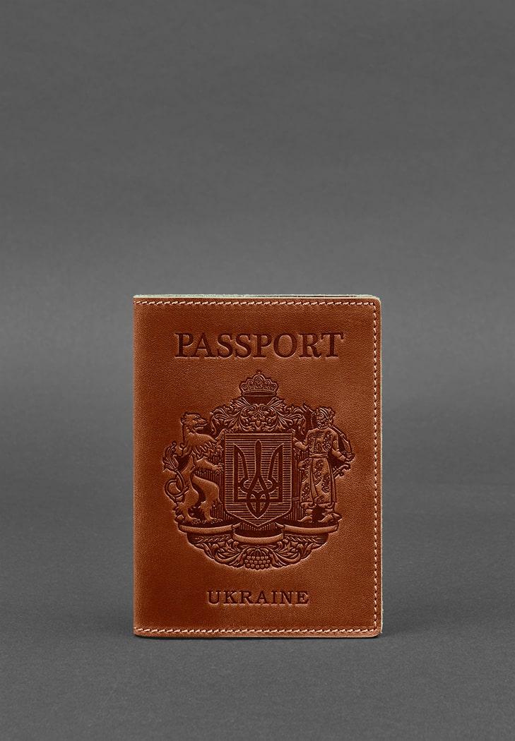 Фото Кожаная обложка для паспорта с украинским гербом светло-коричневая BlankNote