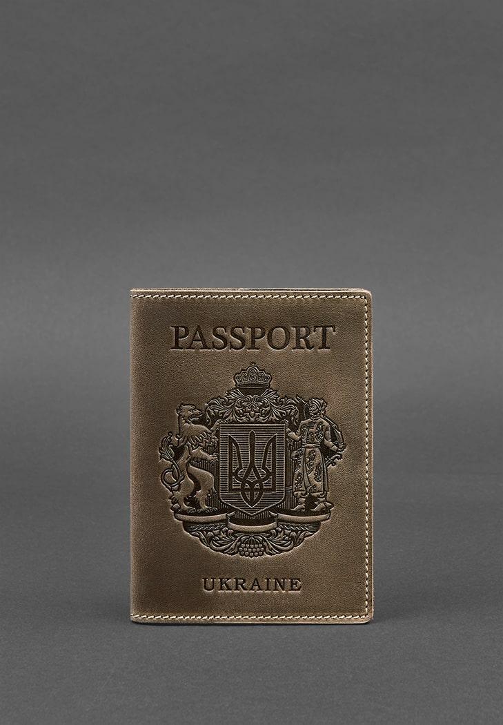 Фото Кожаная обложка для паспорта с украинским гербом темно-коричневая BlankNote