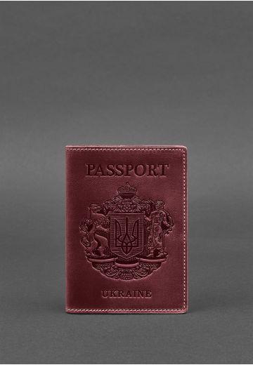 Кожаная обложка для паспорта с украинским гербом бордовая