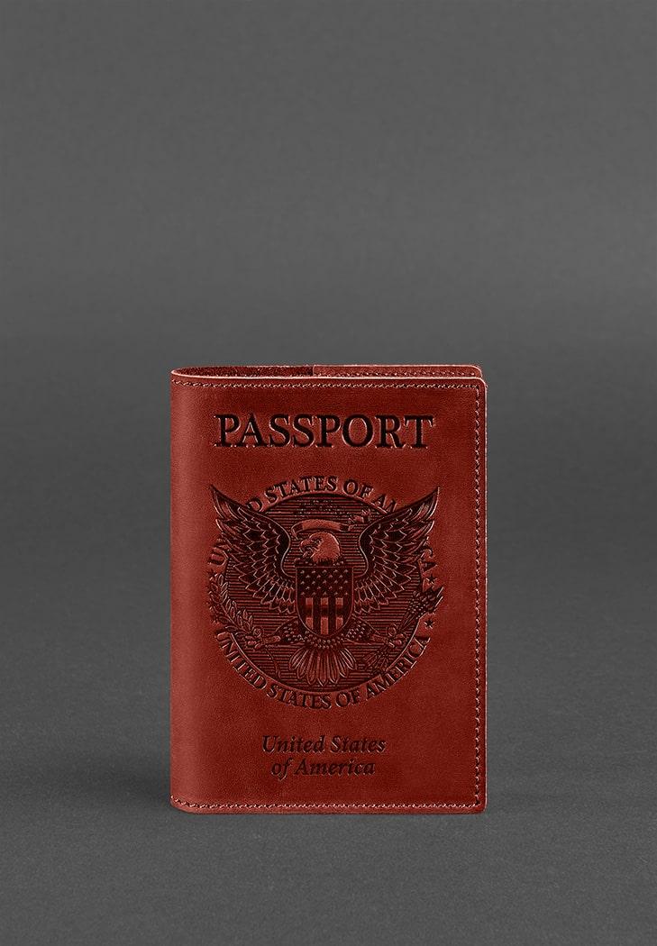 Фото Кожаная обложка для паспорта коралловая с американским гербом