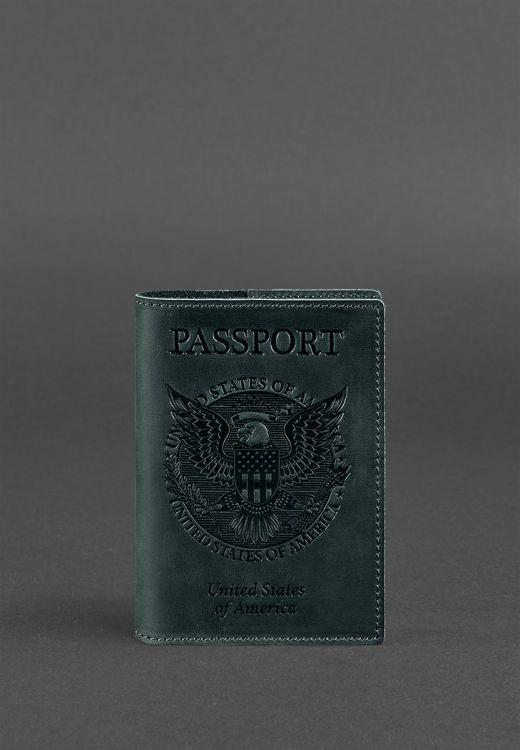 Фото Обложка для паспорта с американским гербом, Изумруд BlankNote