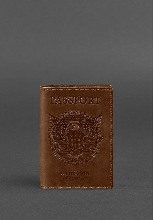 Фото Обложка для паспорта с американским гербом, коньяк BlankNote
