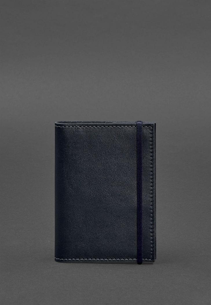 Фото Кожаная обложка для паспорта 1.0 красная краст (BN-OP-1-navy-blue)