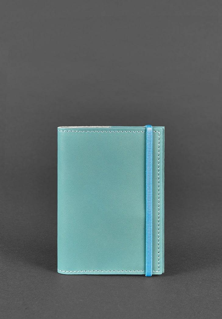 Фото Кожаная обложка для паспорта 1.0 бирюзовая