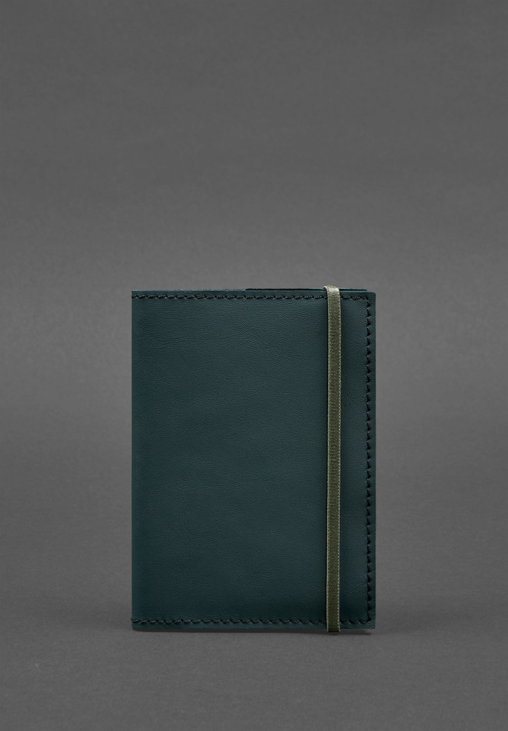 Фото Кожаная обложка для паспорта 1.0 зеленая (BN-OP-1-malachite)