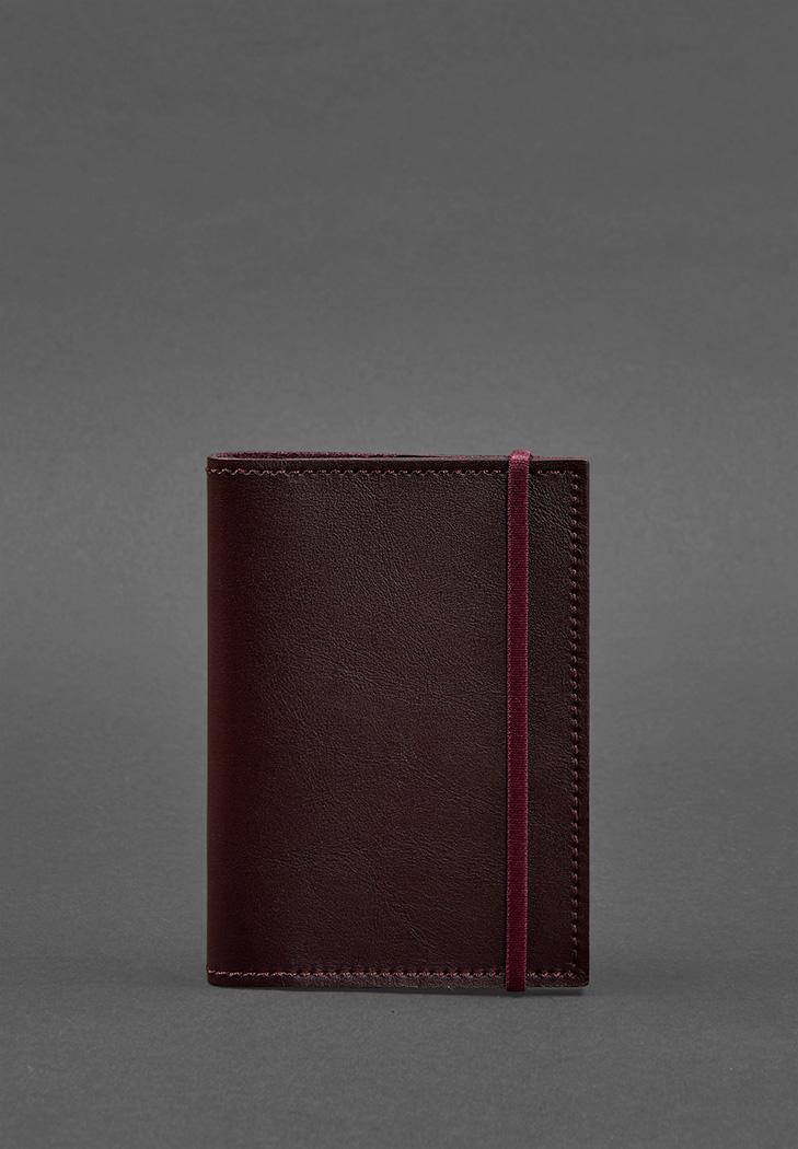 Фото Кожаная обложка для паспорта 1.0 бордовая (BN-OP-1-vin)