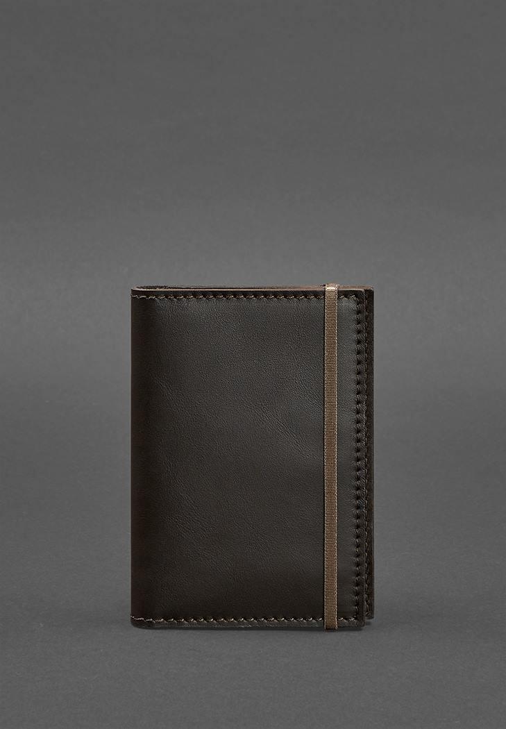 Фото Кожаная обложка для паспорта 2.0 темно-коричневая (BN-OP-2-choko)