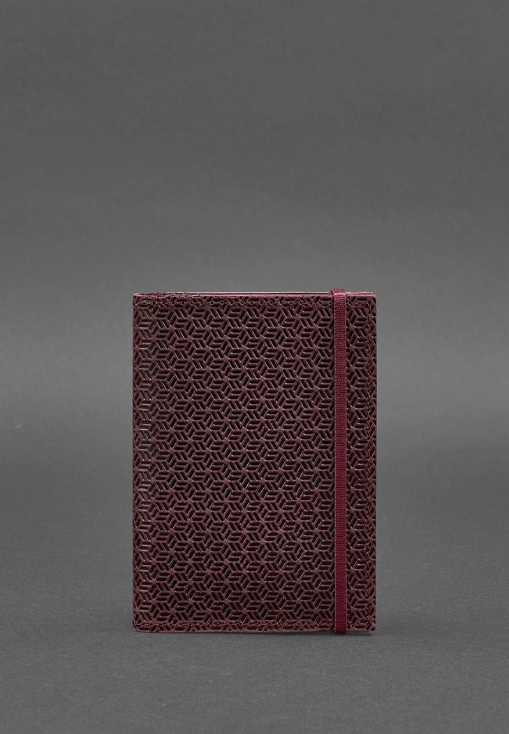 Фото Кожаная обложка для паспорта 2.0 бордовая Карбон BlankNote