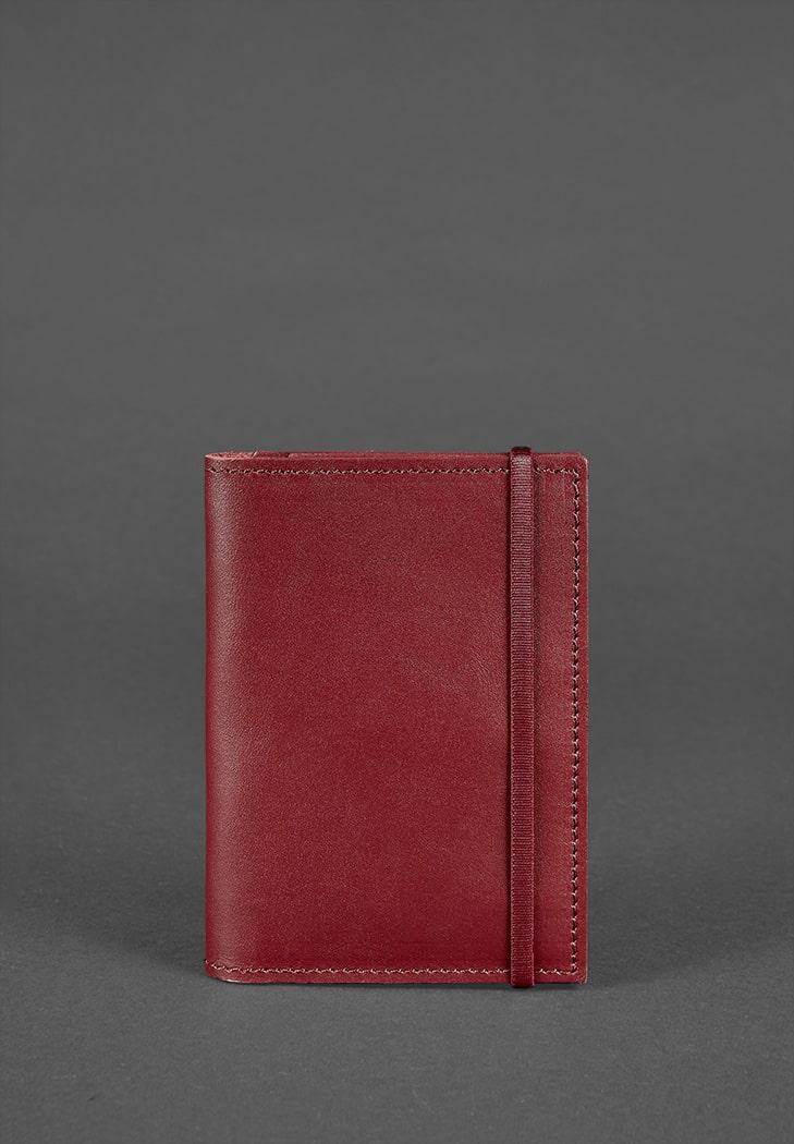 Фото Кожаная обложка для паспорта 2.0 бордовая Краст