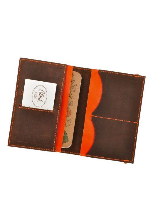 Фото Обложка для паспорта 2.0 Орех-апельсин (кожа) + блокнотик BlankNote