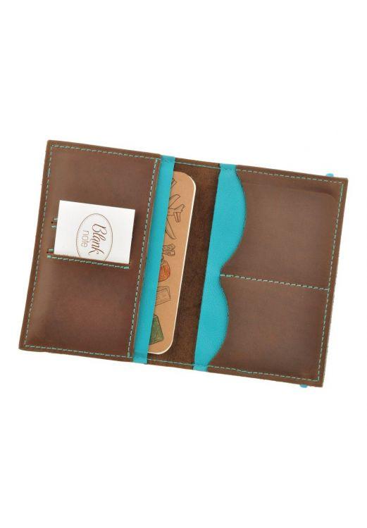 Фото Обложка для паспорта 2.0 Орех-тиффани (кожа) + блокнотик BlankNote