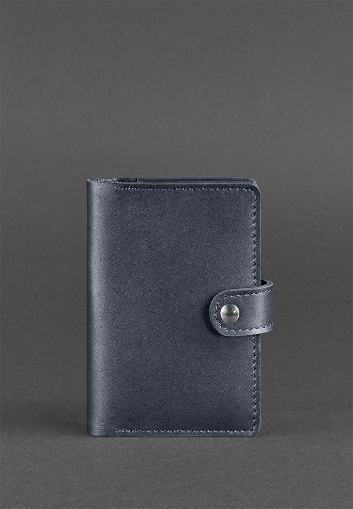 Фото Кожаная обложка для паспорта 3.0 темно-синяя