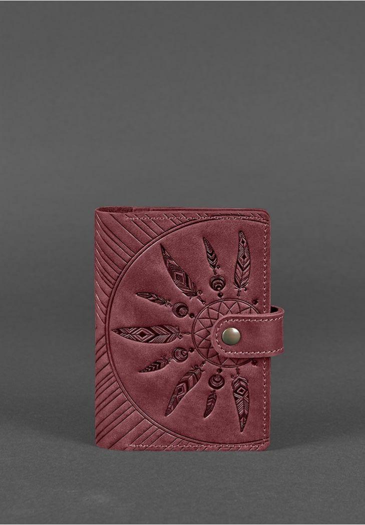 Фото Женская кожаная обложка для паспорта 3.0 Инди бордовая