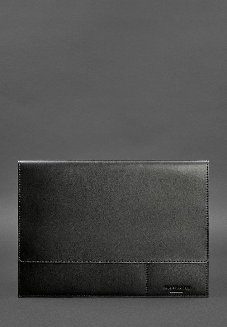 Фото Кожаная папка для документов А4 (на магнитах) черная