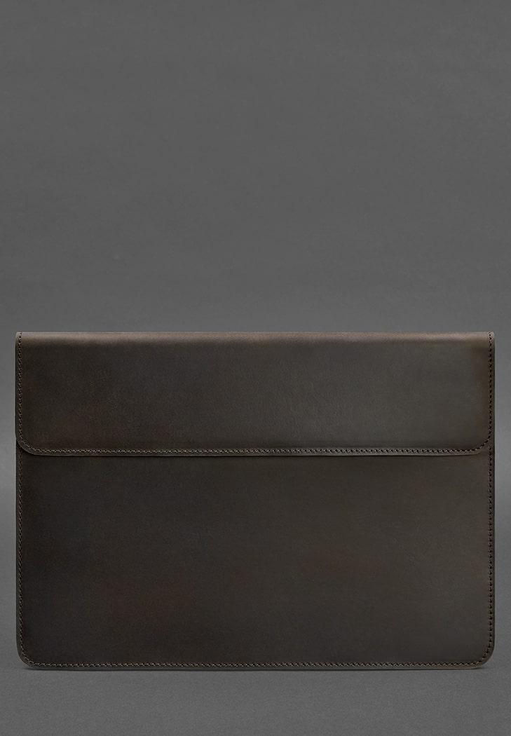 Фото Кожаный чехол-конверт на магнитах для MacBook Pro 16'' Темно-коричневый