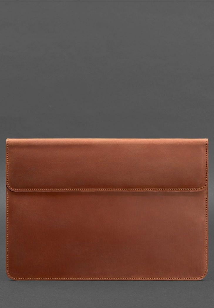 Фото Кожаный чехол-конверт на магнитах для MacBook Air/Pro 16'' Светло-коричневый