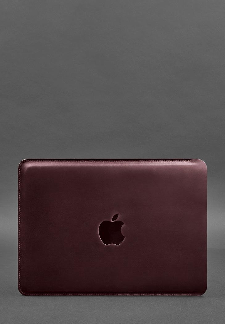 Фото Кожаный чехол для MacBook Air/Pro 13'' Бордовый