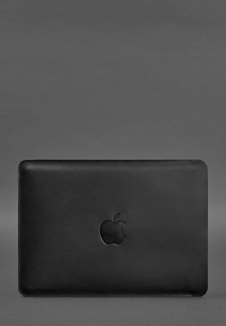 Фото Кожаный чехол для MacBook Pro 15''-16''(2020) Черный Crazy Horse BlankNote